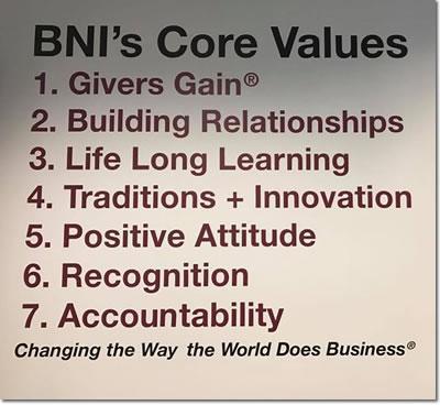 BNI Vermont Core Values